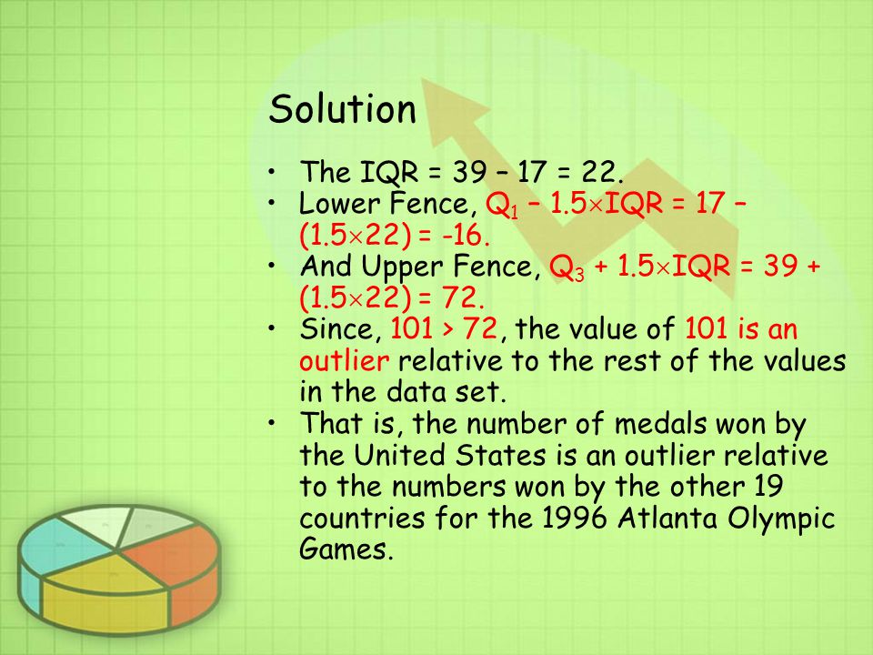Solution The IQR = 39 – 17 = 22.Lower Fence, Q 1 – 1.5  IQR = 17 – (1.5  22) = -16.