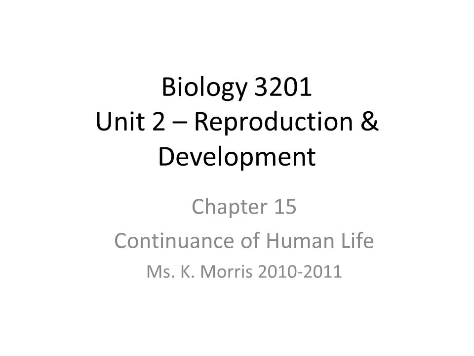 Biology 3201 Unit 2 – Reproduction & Development Chapter 15 Continuance of Human Life Ms. K. Morris 2010-2011