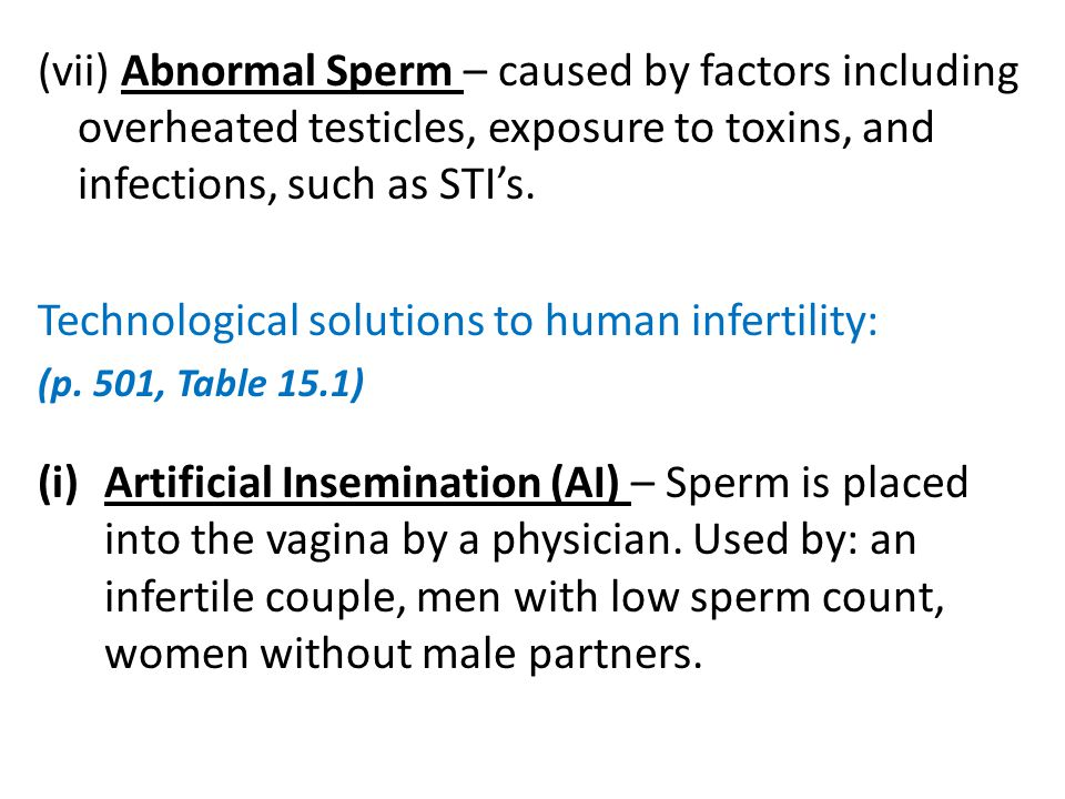 (vii) Abnormal Sperm – caused by factors including overheated testicles, exposure to toxins, and infections, such as STI's. Technological solutions to