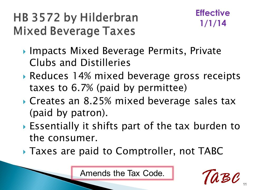  Impacts Mixed Beverage Permits, Private Clubs and Distilleries  Reduces 14% mixed beverage gross receipts taxes to 6.7% (paid by permittee)  Creat