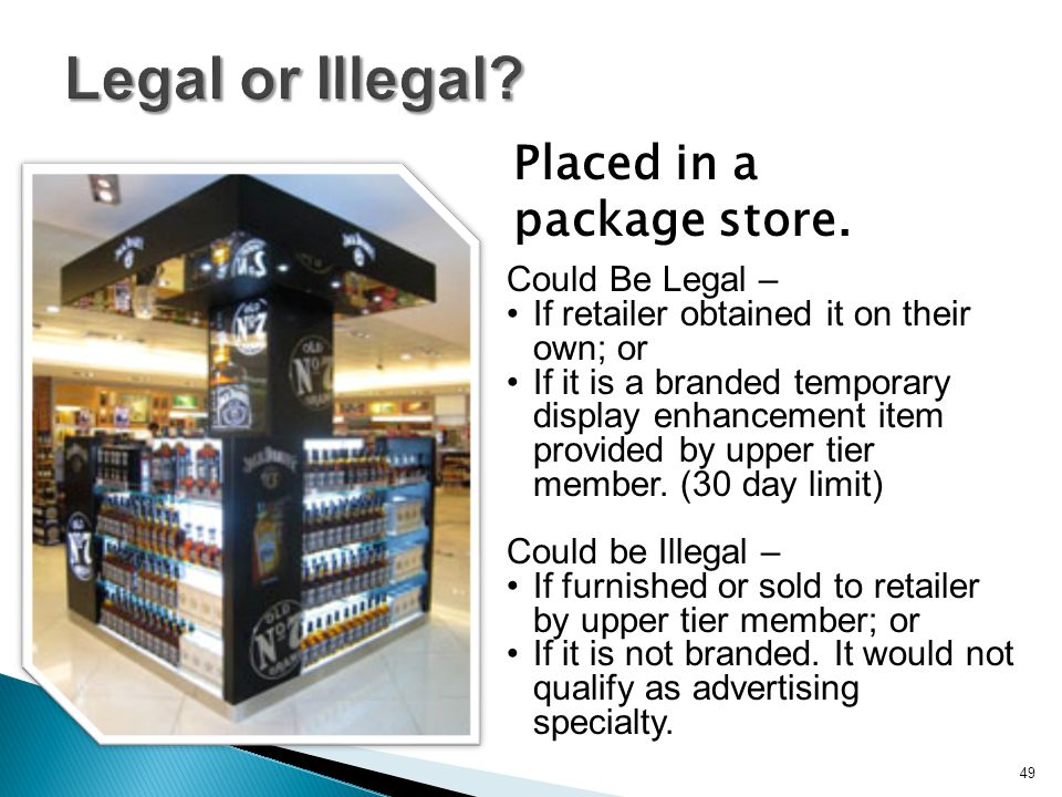 Legal or Illegal? Placed in a package store. 49 Could Be Legal – If retailer obtained it on their own; or If it is a branded temporary display enhance