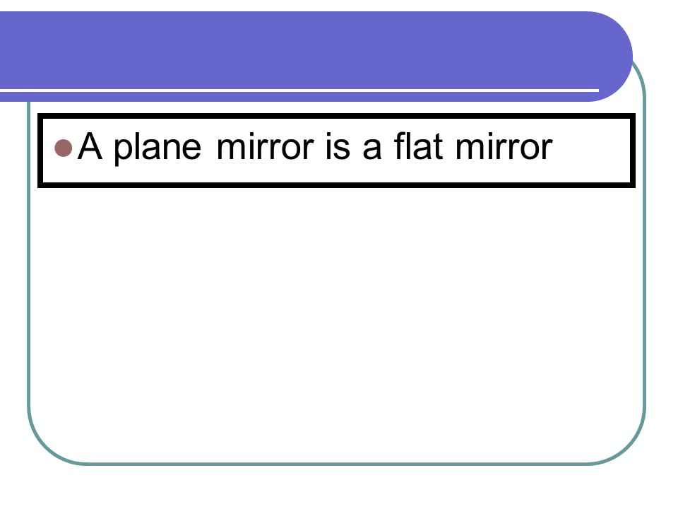 ir Normal Angle of incidence Angle of reflection Plane Mirror Reflected rayIncident ray Plane Mirror (diagram on page 1)