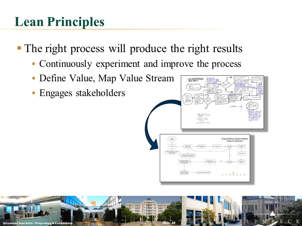 ©Linbeck/Jose Solis - Proprietary & Confidential Slide 18  The right process will produce the right results  Continuously experiment and improve the