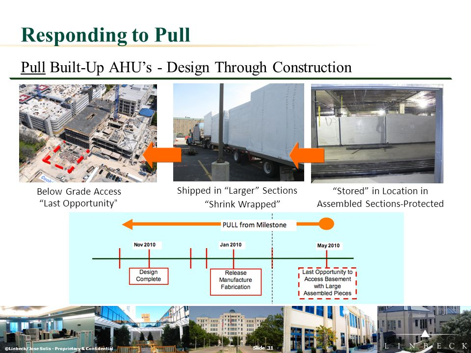 "©Linbeck/Jose Solis - Proprietary & Confidential Slide 31 Responding to Pull Pull Built-Up AHU's - Design Through Construction Below Grade Access ""Las"