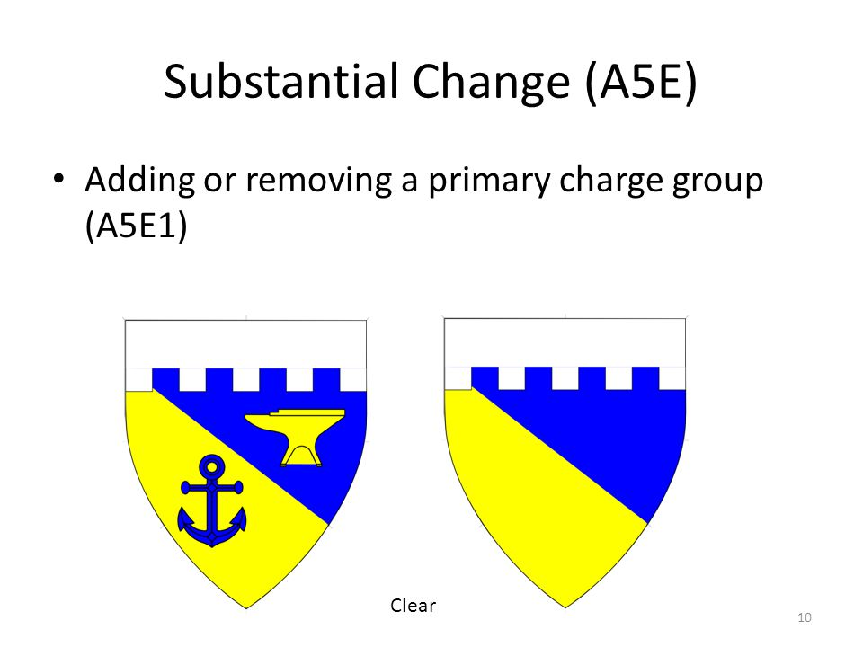 Substantial Change (A5E) Adding or removing a primary charge group (A5E1) 10 Clear