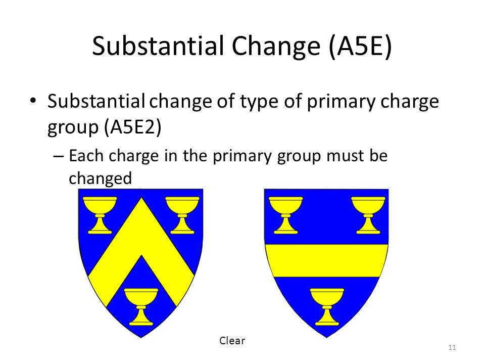Substantial Change (A5E) Substantial change of type of primary charge group (A5E2) – Each charge in the primary group must be changed 11 Clear