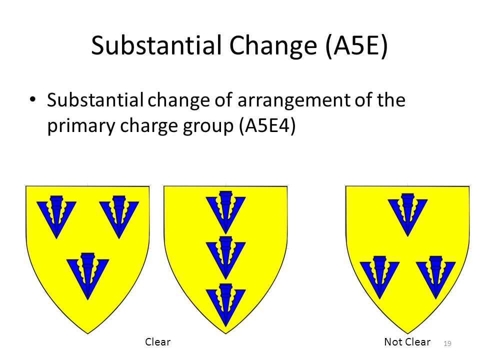 Substantial Change (A5E) Substantial change of arrangement of the primary charge group (A5E4) 19 ClearNot Clear