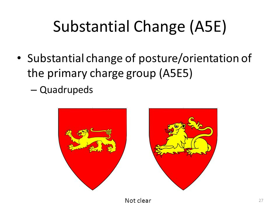 Substantial Change (A5E) Substantial change of posture/orientation of the primary charge group (A5E5) – Quadrupeds 27 Not clear