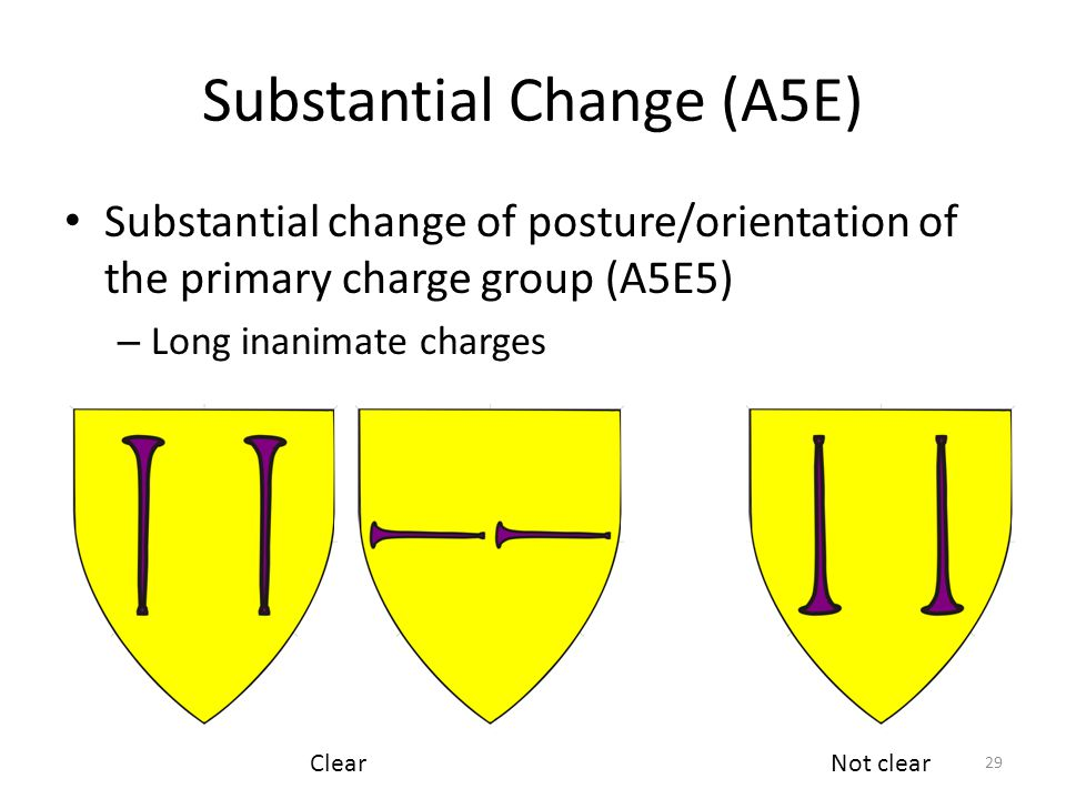 Substantial Change (A5E) Substantial change of posture/orientation of the primary charge group (A5E5) – Long inanimate charges 29 Not clearClear