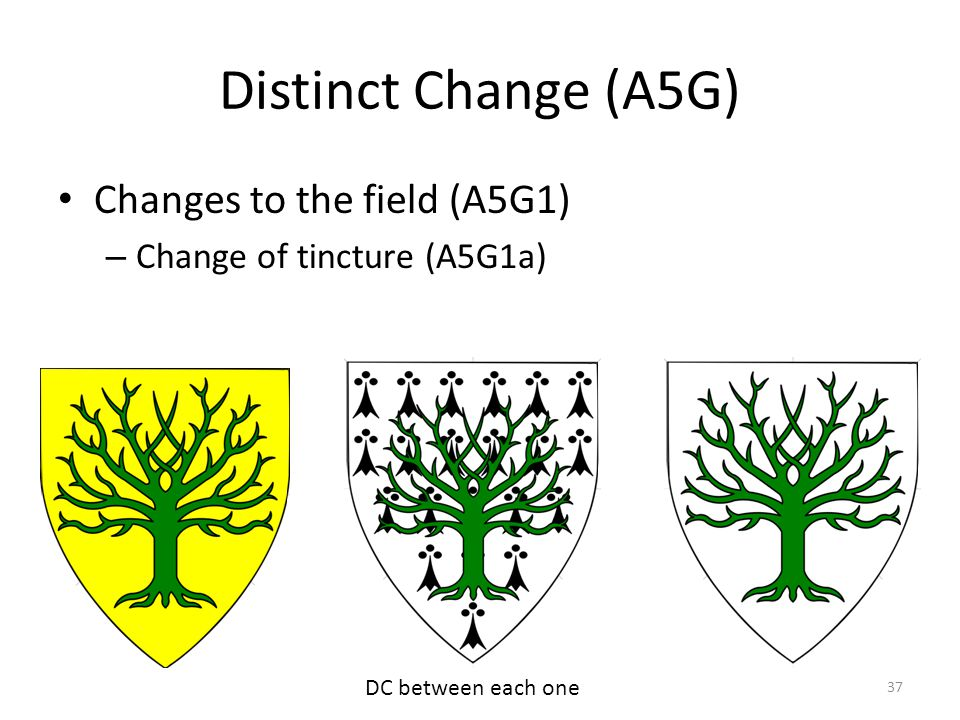 Distinct Change (A5G) Changes to the field (A5G1) – Change of tincture (A5G1a) 37 DC between each one