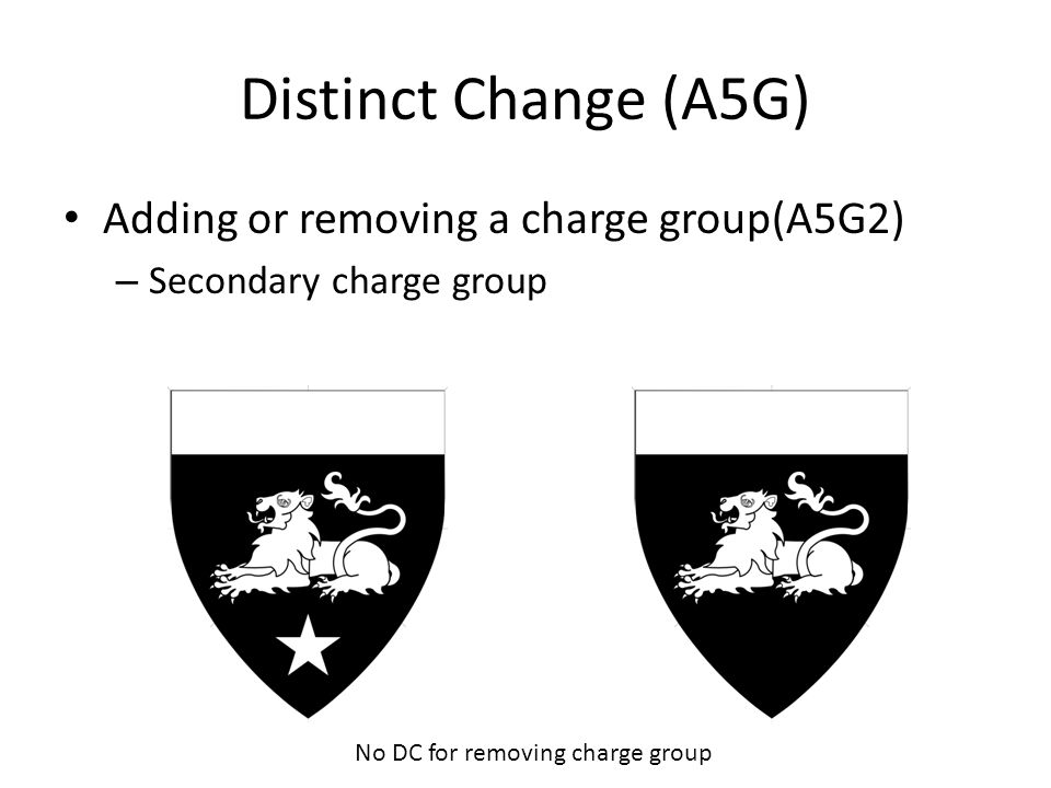 Distinct Change (A5G) Adding or removing a charge group(A5G2) – Secondary charge group No DC for removing charge group