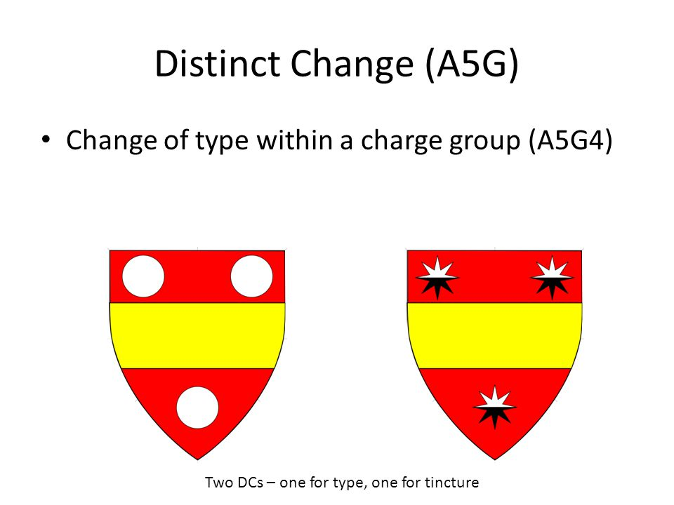 Distinct Change (A5G) Change of type within a charge group (A5G4) Two DCs – one for type, one for tincture