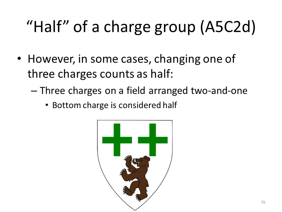 """Half"" of a charge group (A5C2d) However, in some cases, changing one of three charges counts as half: – Three charges on a field arranged two-and-one"