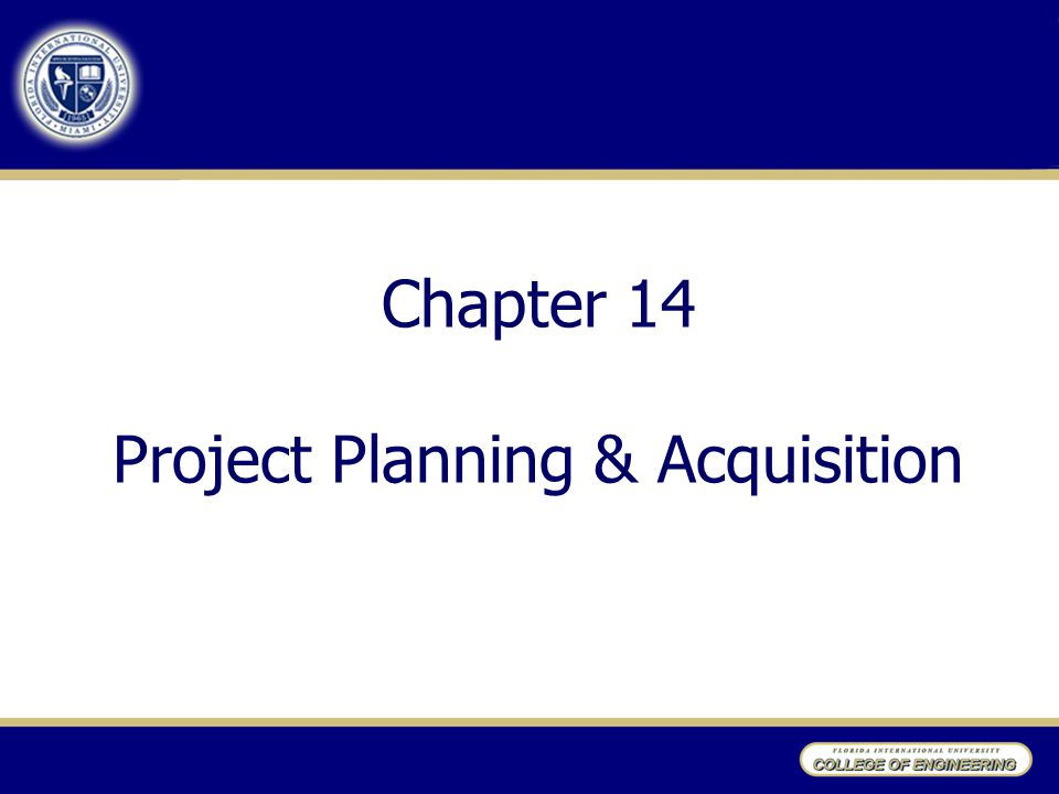 Chapter 14 Project Planning & Acquisition