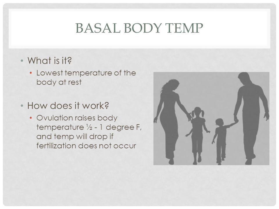BASAL BODY TEMP What is it? Lowest temperature of the body at rest How does it work? Ovulation raises body temperature ½ - 1 degree F, and temp will d