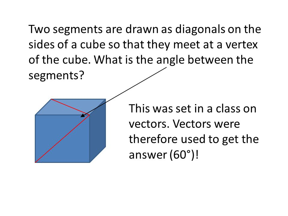 Two segments are drawn as diagonals on the sides of a cube so that they meet at a vertex of the cube. What is the angle between the segments? This was