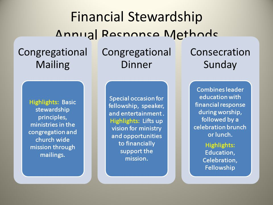 Financial Stewardship Annual Response Methods Congregational Mailing Highlights: Basic stewardship principles, ministries in the congregation and church wide mission through mailings.