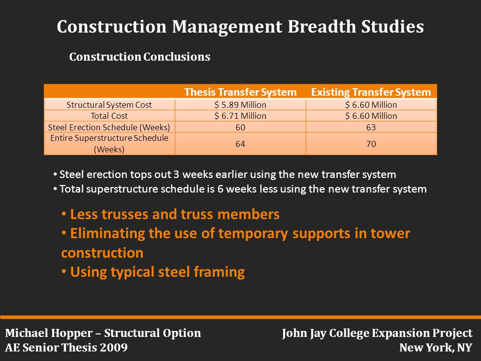 Michael Hopper – Structural Option AE Senior Thesis 2009 John Jay College Expansion Project New York, NY Construction Management Breadth Studies Construction Conclusions Steel erection tops out 3 weeks earlier using the new transfer system Total superstructure schedule is 6 weeks less using the new transfer system Less trusses and truss members Eliminating the use of temporary supports in tower construction Using typical steel framing