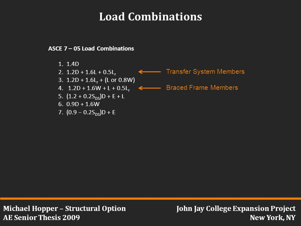Michael Hopper – Structural Option AE Senior Thesis 2009 John Jay College Expansion Project New York, NY Load Combinations 1.