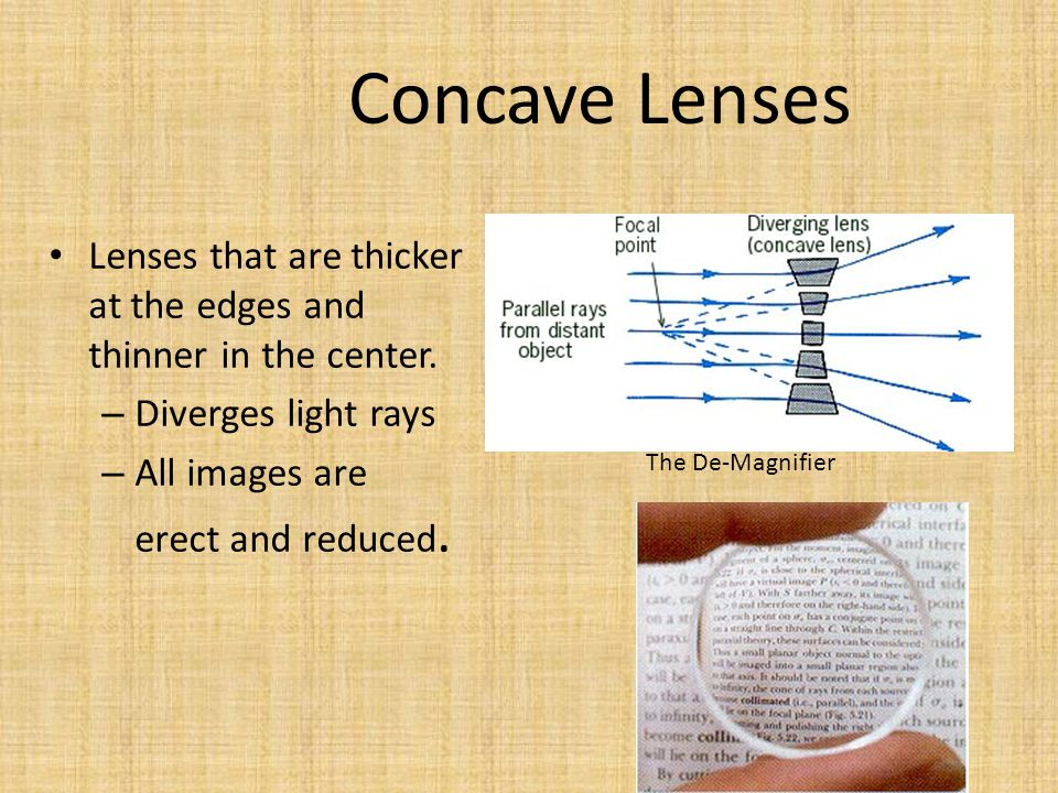 Convex Lenses Thicker in the center than edges. – Lens that converges (brings together) light rays.