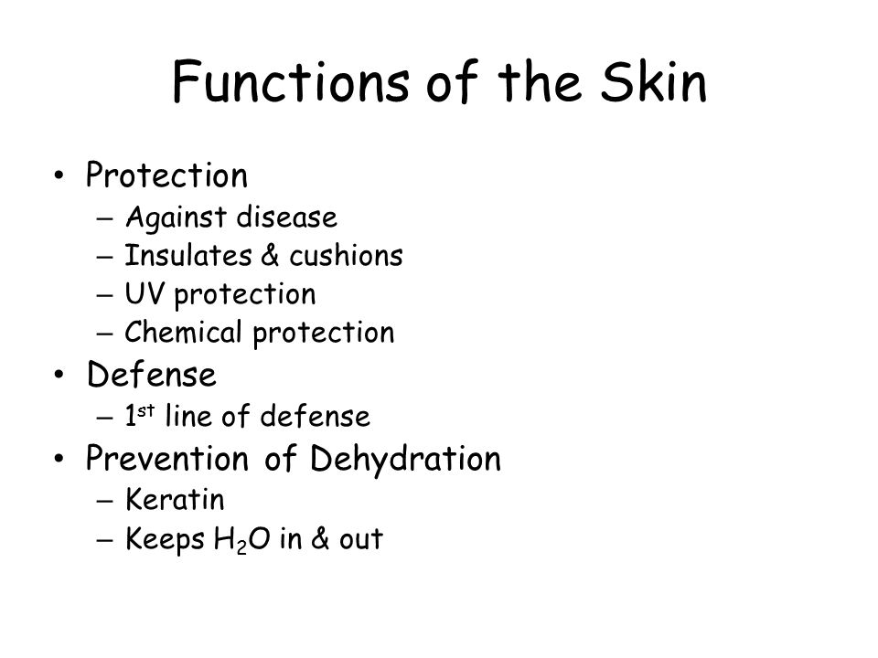 Functions of the Skin Protection – Against disease – Insulates & cushions – UV protection – Chemical protection Defense – 1 st line of defense Prevent
