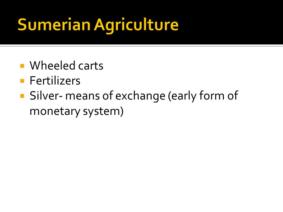  Wheeled carts  Fertilizers  Silver- means of exchange (early form of monetary system)