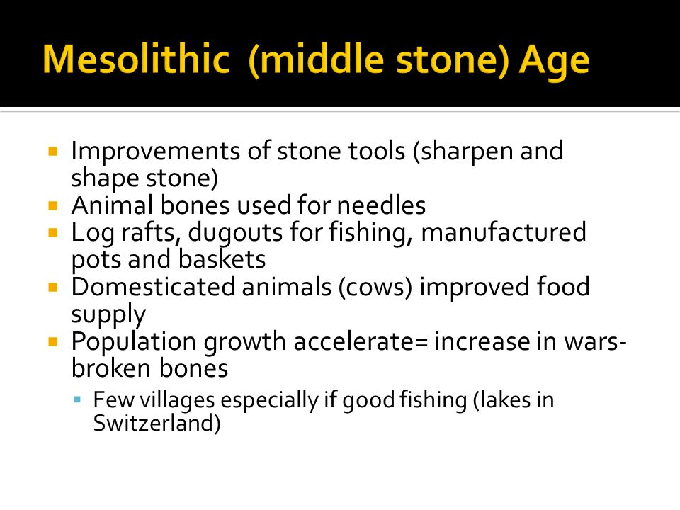  Improvements of stone tools (sharpen and shape stone)  Animal bones used for needles  Log rafts, dugouts for fishing, manufactured pots and baskets  Domesticated animals (cows) improved food supply  Population growth accelerate= increase in wars- broken bones  Few villages especially if good fishing (lakes in Switzerland)