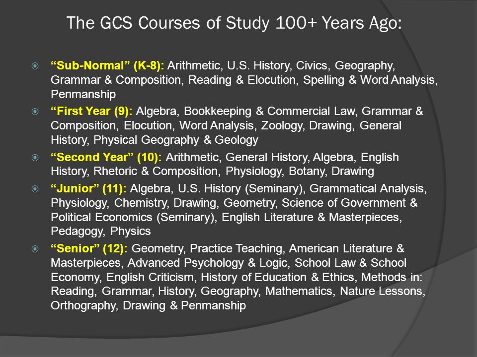 The GCS Courses of Study 100+ Years Ago:  Sub-Normal (K-8): Arithmetic, U.S.