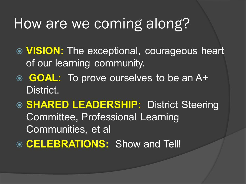 How are we coming along.  VISION: The exceptional, courageous heart of our learning community.