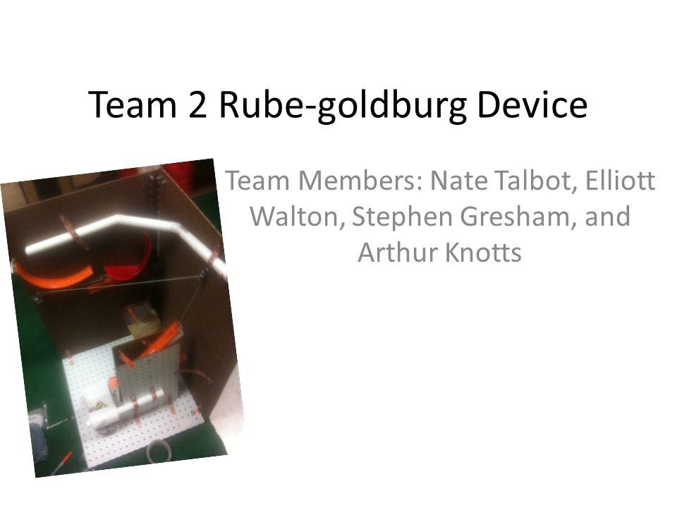 Team 2 Rube-goldburg Device Team Members: Nate Talbot, Elliott Walton, Stephen Gresham, and Arthur Knotts