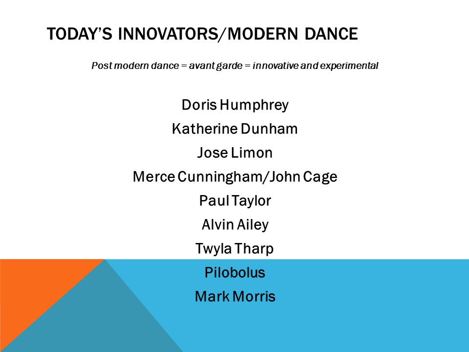 TODAY'S INNOVATORS/MODERN DANCE Post modern dance = avant garde = innovative and experimental Doris Humphrey Katherine Dunham Jose Limon Merce Cunningham/John Cage Paul Taylor Alvin Ailey Twyla Tharp Pilobolus Mark Morris