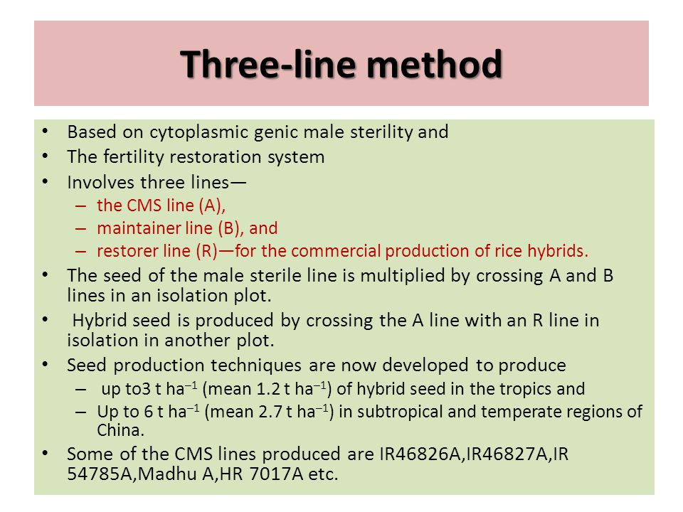 Three-line method Based on cytoplasmic genic male sterility and The fertility restoration system Involves three lines— – the CMS line (A), – maintaine