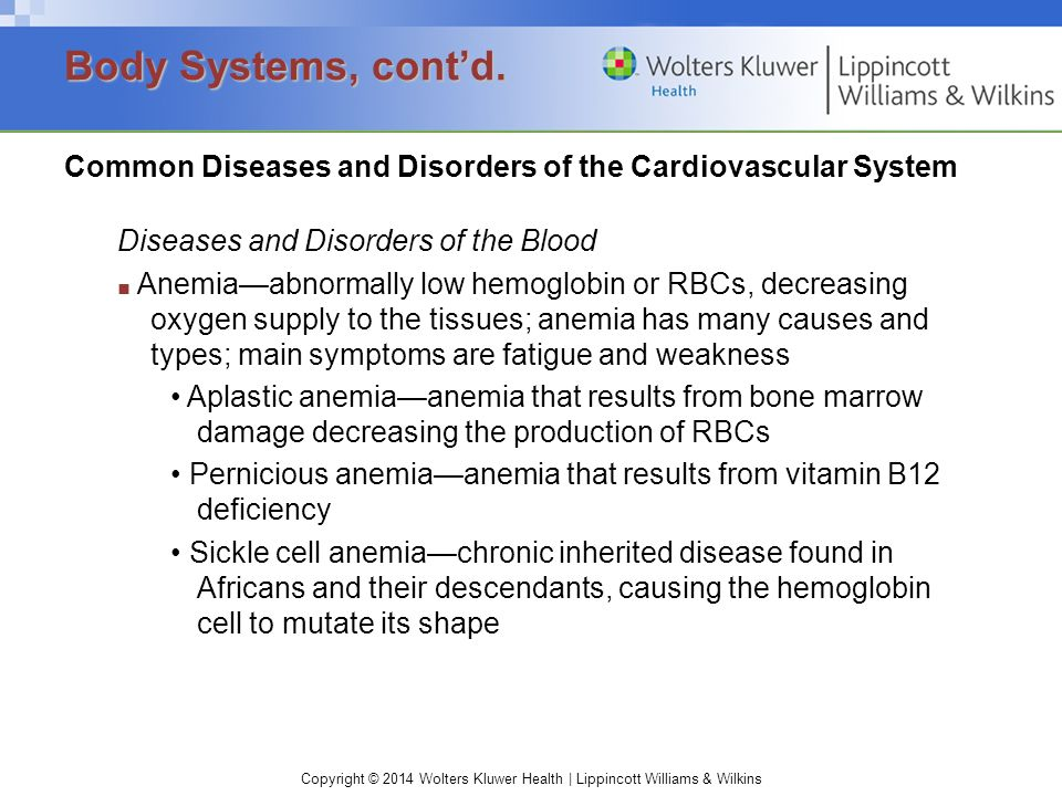 Copyright © 2014 Wolters Kluwer Health | Lippincott Williams & Wilkins Common Diseases and Disorders of the Cardiovascular System Diseases and Disorde