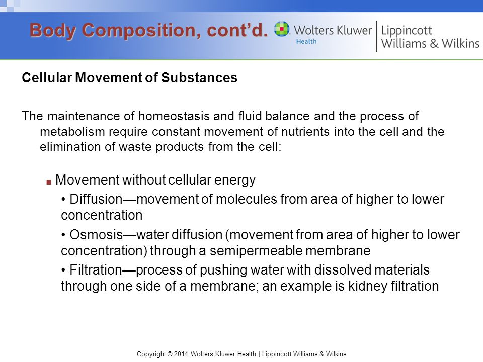 Copyright © 2014 Wolters Kluwer Health | Lippincott Williams & Wilkins Cellular Movement of Substances The maintenance of homeostasis and fluid balanc