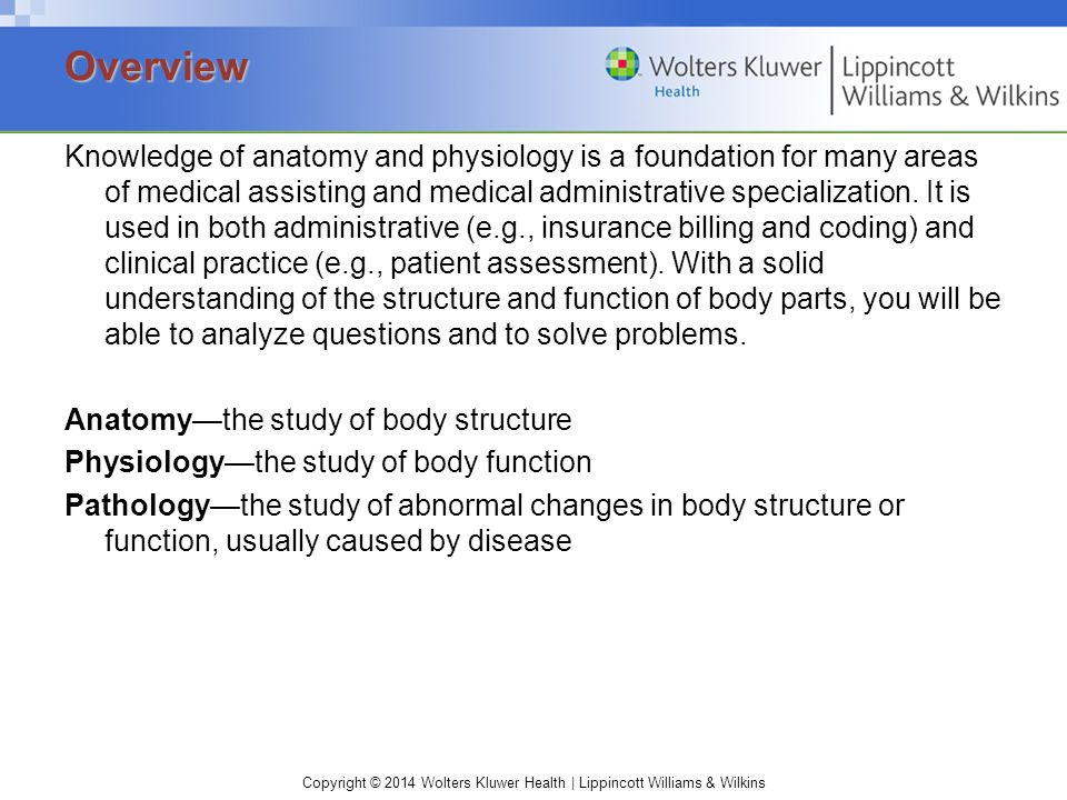 Copyright © 2014 Wolters Kluwer Health | Lippincott Williams & Wilkins Knowledge of anatomy and physiology is a foundation for many areas of medical assisting and medical administrative specialization.