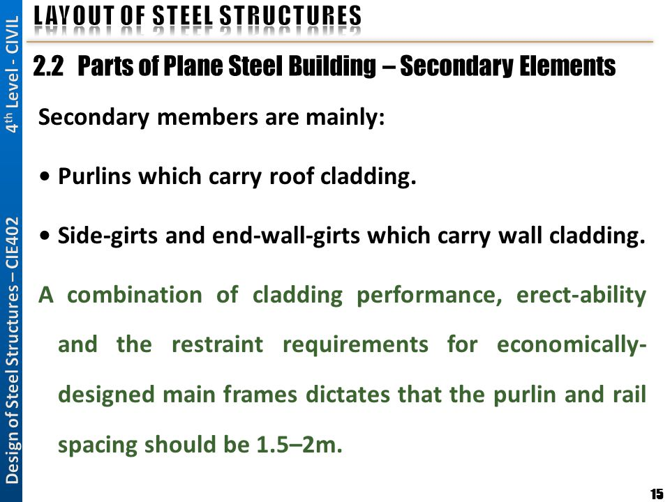 15 2.2 Parts of Plane Steel Building – Secondary Elements Secondary members are mainly: Purlins which carry roof cladding. Side-girts and end-wall-gir