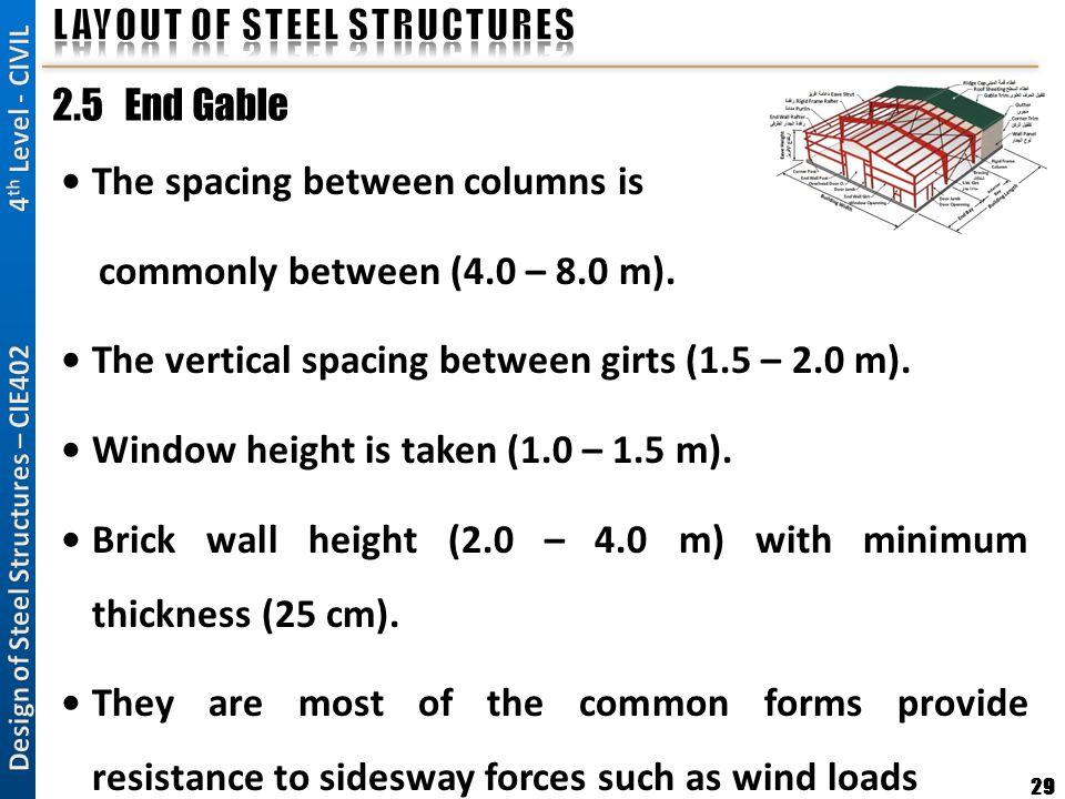 29 2.5 End Gable The spacing between columns is commonly between (4.0 – 8.0 m). The vertical spacing between girts (1.5 – 2.0 m). Window height is tak