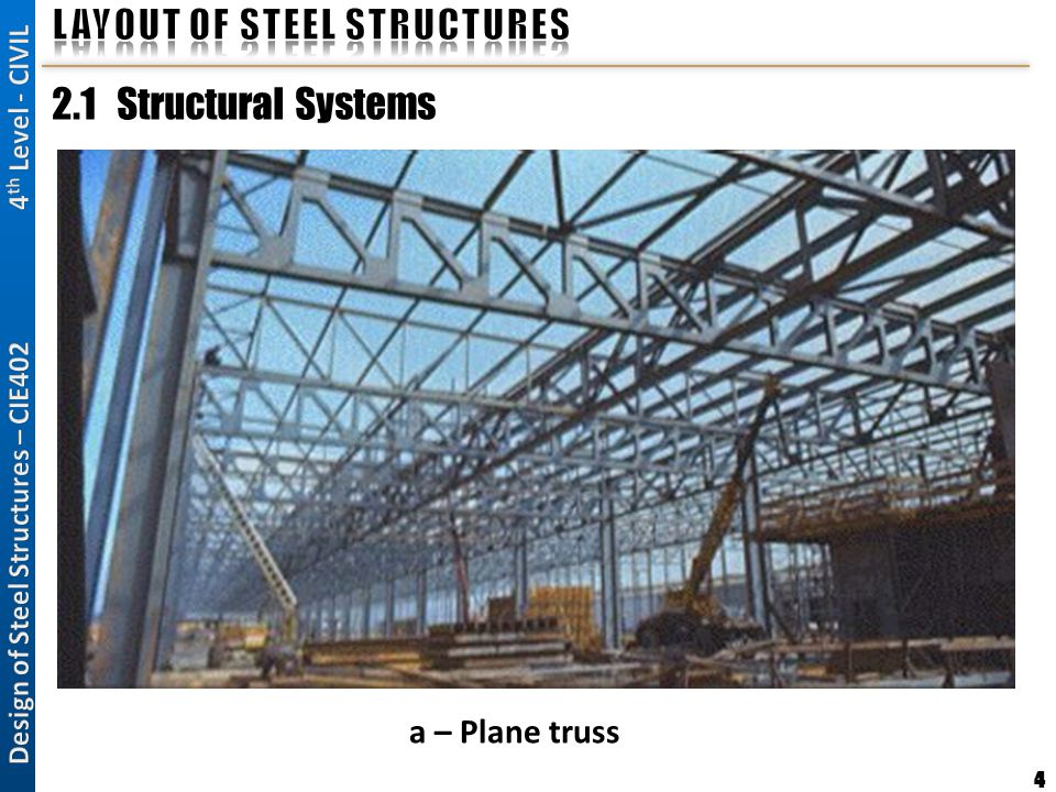 4 2.1 Structural Systems a – Plane truss