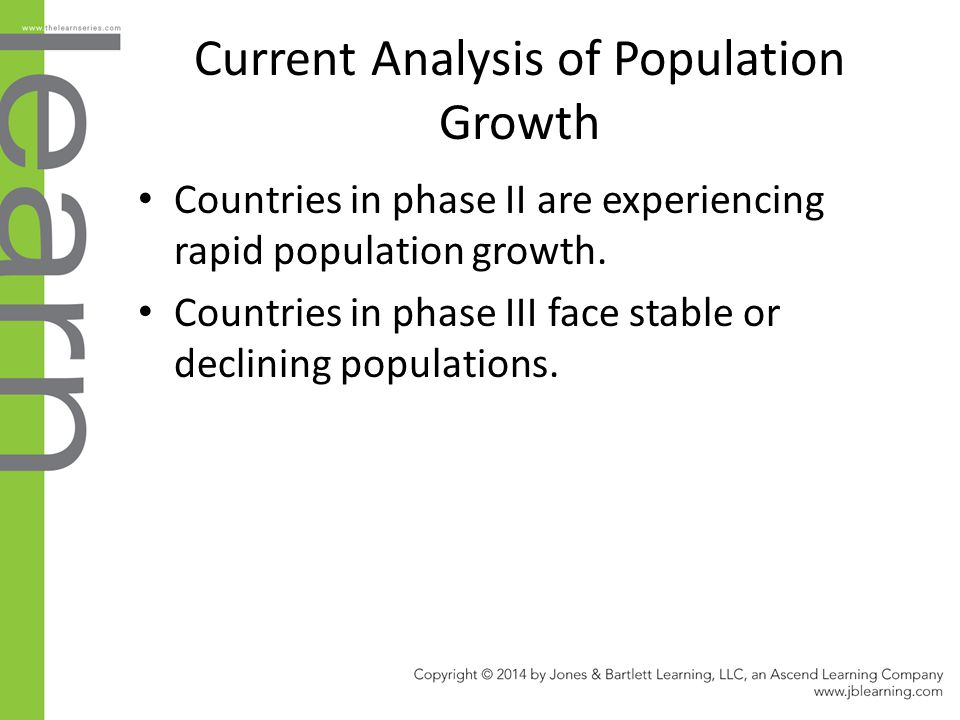 Current Analysis of Population Growth Countries in phase II are experiencing rapid population growth. Countries in phase III face stable or declining