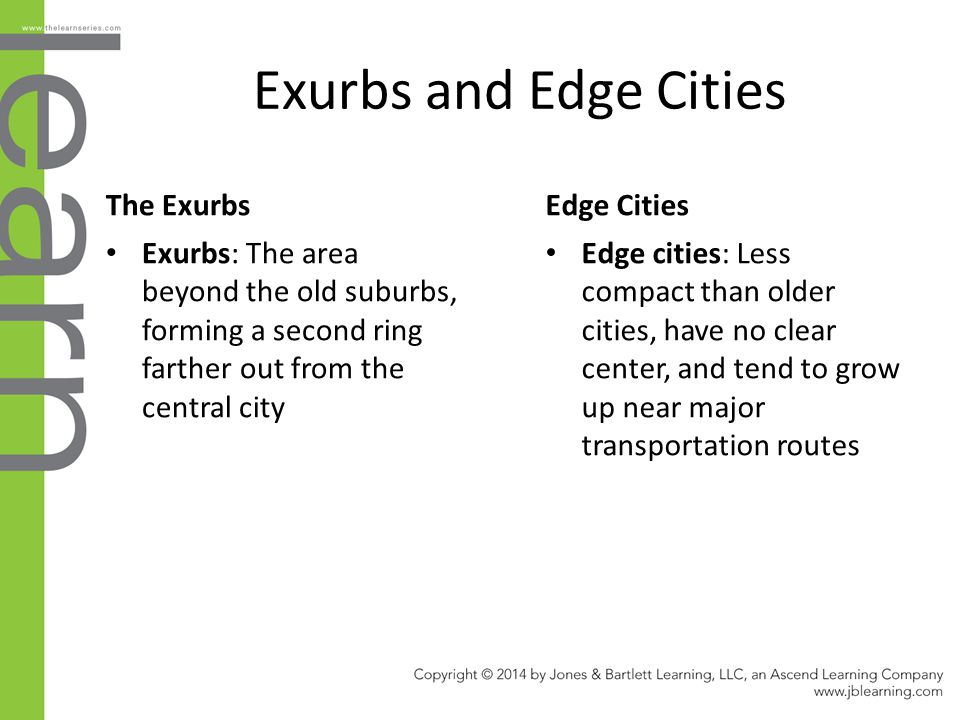 Exurbs and Edge Cities The Exurbs Exurbs: The area beyond the old suburbs, forming a second ring farther out from the central city Edge Cities Edge ci