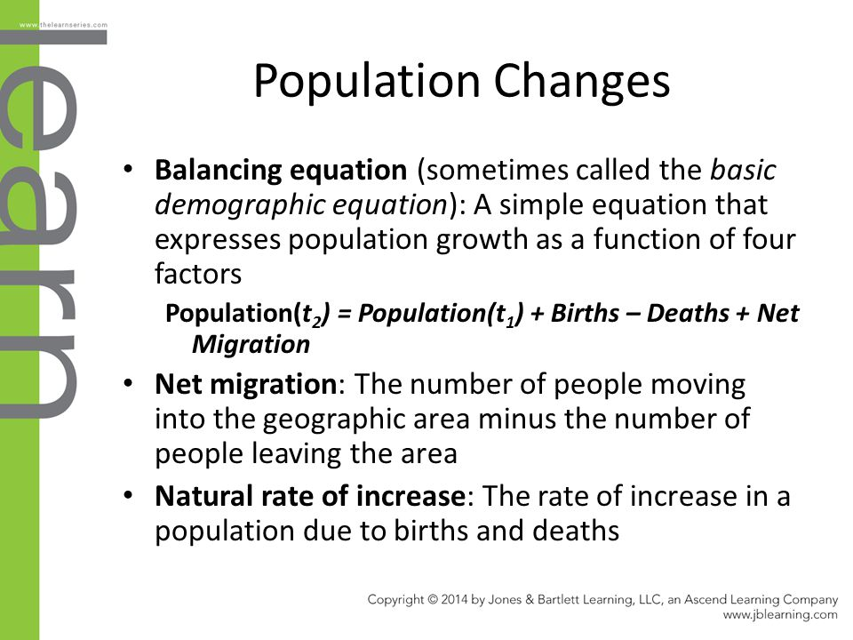 Population Changes Balancing equation (sometimes called the basic demographic equation): A simple equation that expresses population growth as a funct