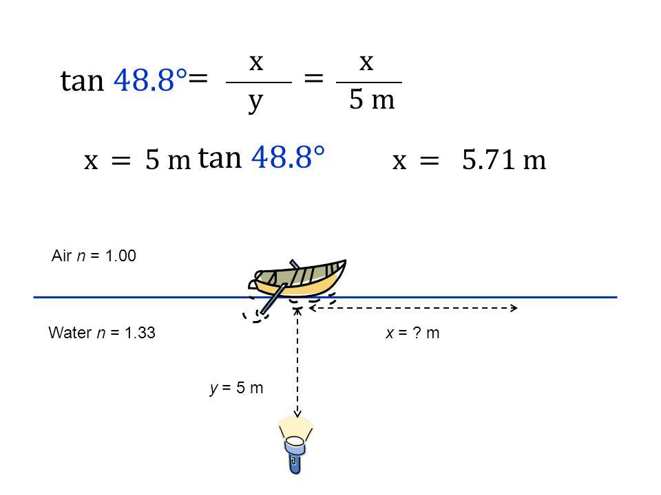 Air n = 1.00 Water n = 1.33 y = 5 m x = ? m tan 48.8° = y x = 5 m x x= tan 48.8° x=5.71 m