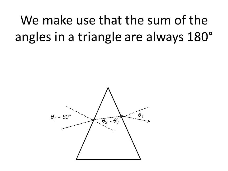θ 1 = 60° We make use that the sum of the angles in a triangle are always 180° θ2 θ2 θ3 θ3 θ4 θ4