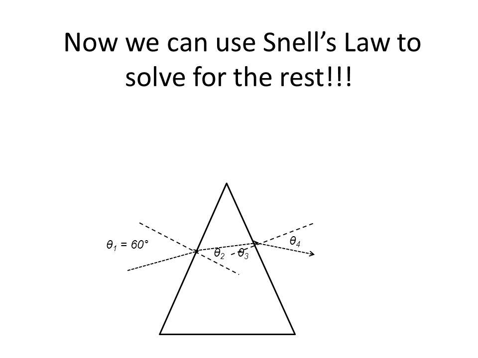 θ 1 = 60° Now we can use Snell's Law to solve for the rest!!! θ2 θ2 θ3 θ3 θ4 θ4