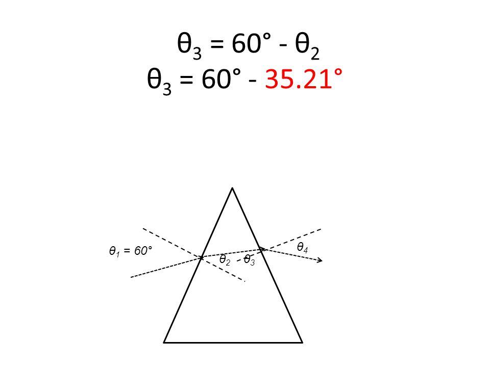 θ 1 = 60° θ 3 = 60° - θ 2 θ 3 = 60° - 35.21° θ2 θ2 θ3 θ3 θ4 θ4