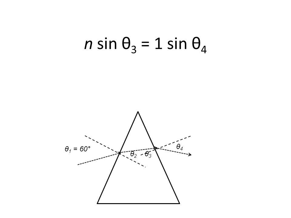 θ 1 = 60° n sin θ 3 = 1 sin θ 4 θ2 θ2 θ3 θ3 θ4 θ4