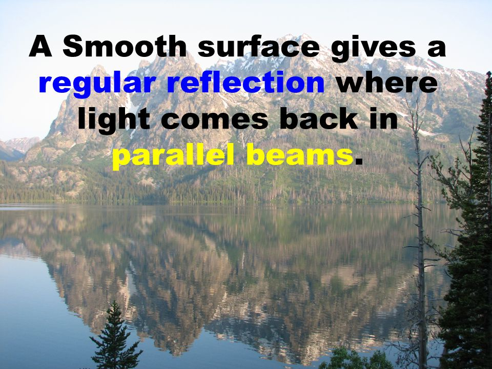 A Smooth surface gives a regular reflection where light comes back in parallel beams.
