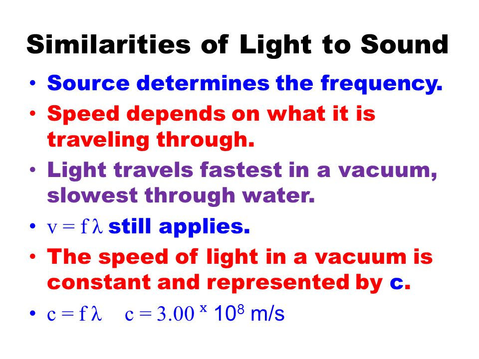 Similarities of Light to Sound Source determines the frequency.