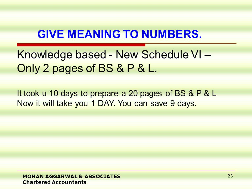 MOHAN AGGARWAL & ASSOCIATES Chartered Accountants 23 Knowledge based - New Schedule VI – Only 2 pages of BS & P & L.