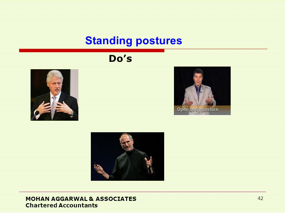 Do's MOHAN AGGARWAL & ASSOCIATES Chartered Accountants 42 Standing postures